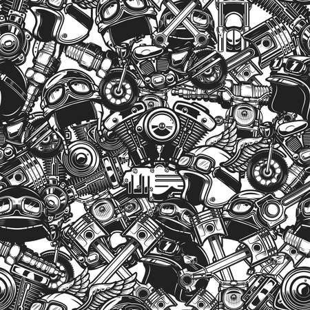 Seamless pattern with auto repair design elements in monochrome style. Design element for poster, card, banner. Vector illustration