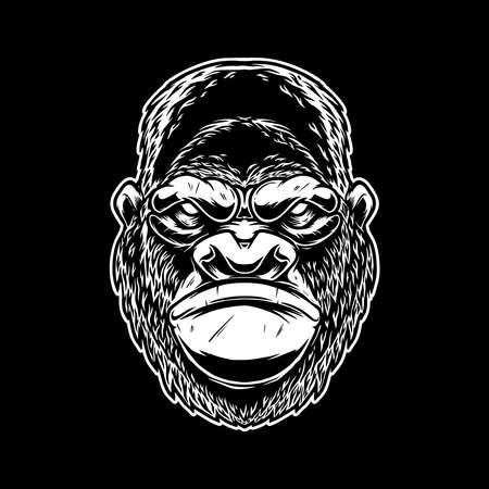 Illustration of head of angry ape in vintage monochrome style. Design element for emblem, sign, poster, card, banner. Vector illustration Ilustración de vector