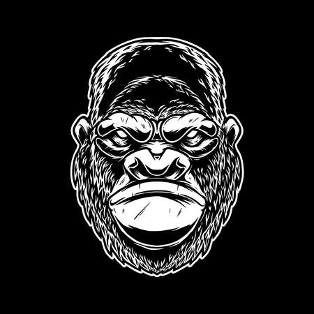 Illustration of head of angry ape in vintage monochrome style. Design element for emblem, sign, poster, card, banner. Vector illustration Vector Illustratie