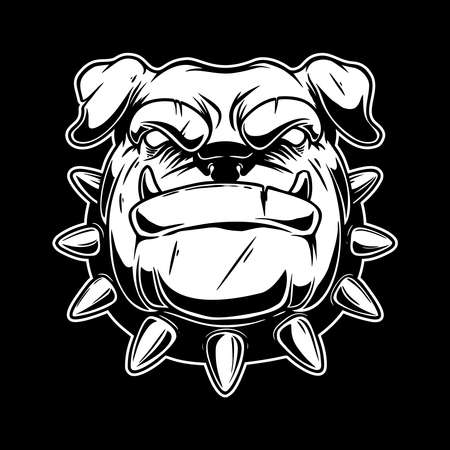Illustration of boxer dog head in vintage monochrome style.