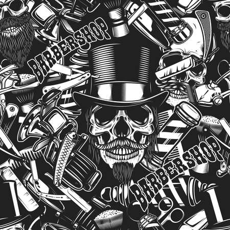 Seamless pattern with barbershop design elements in monochrome style. Design element for poster, card, banner. Vector illustration
