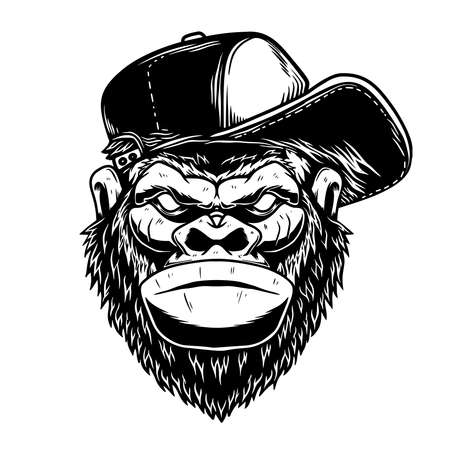 Illustration of head of gorilla had in baseball cap in vintage monochrome style.