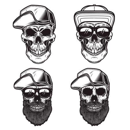 Set of Illustrations of skull in baseball cap in monochrome style. Design element for emblem, sign, poster, card, banner. Vector illustration