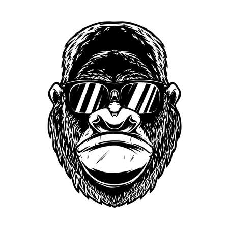 Illustration of head of angry gorilla with sunglasses in vintage monochrome style. Design element for logo, emblem, sign, poster, card, banner. Vector illustration