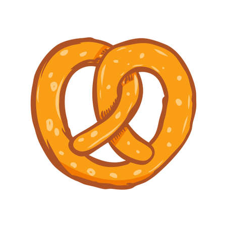Illustration of pretzel. Design element for poster, card, banner, menu. Vector illustration Illustration