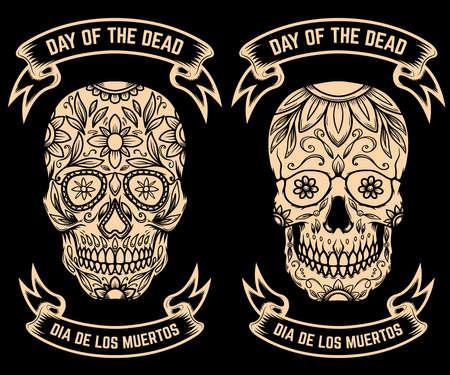 Illustration of mexican sugar skull. Day of the dead. Design element for logo, emblem, sign, poster, card, banner. Vector illustration Logo