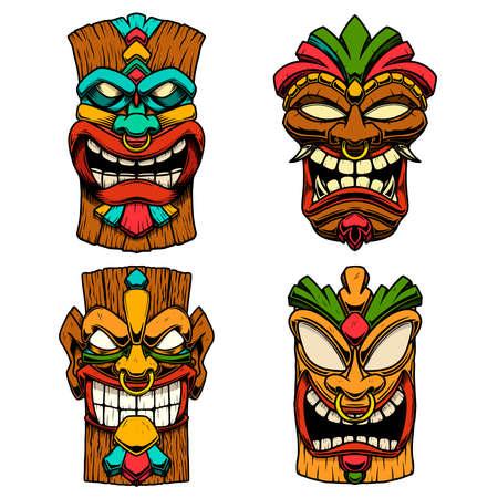 Set of Illustrations of Tiki tribal wooden mask. Design element for logo, emblem, sign, poster, card, banner. Vector illustration Logo