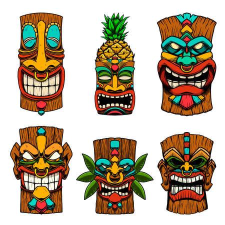 Set of Illustrations of Tiki tribal wooden mask. Design element for logo, emblem, sign, poster, card, banner. Vector illustration