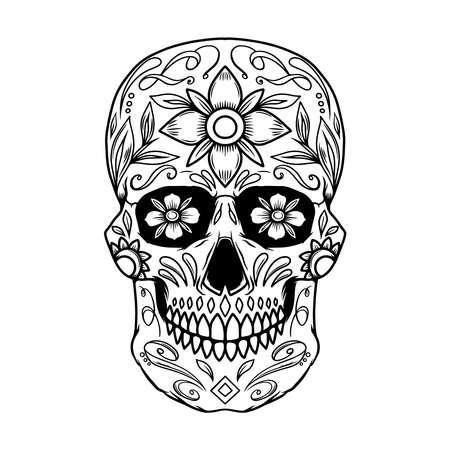 Illustration of mexican sugar skull. Design element for logo, emblem, sign, poster, card, banner. Vector illustration