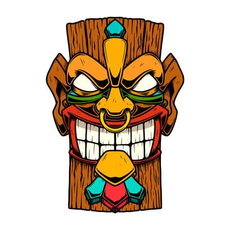 Illustration of Tiki tribal wooden mask. Design element for logo, emblem, sign, poster, card, banner. Vector illustration Logo
