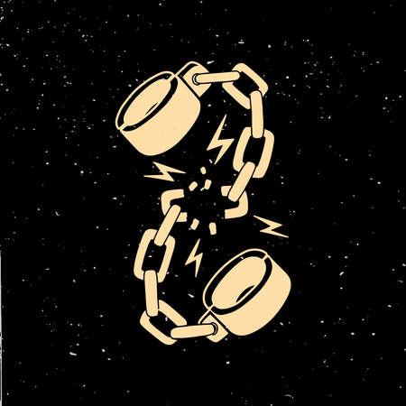 Illustration of Broken shackles in vintage monochrome style. Design element for logo, emblem, sign, poster, card, banner. Vector illustration Logo