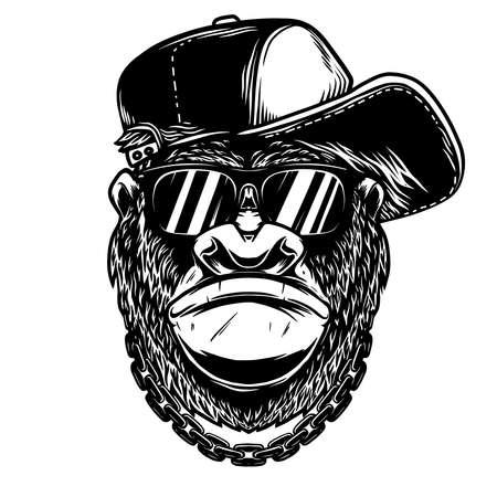 Illustration of head of angry gorilla with baseball cap and sunglasses in vintage monochrome style. Design element for logo, emblem, sign, poster, card, banner. Vector illustration Ilustração