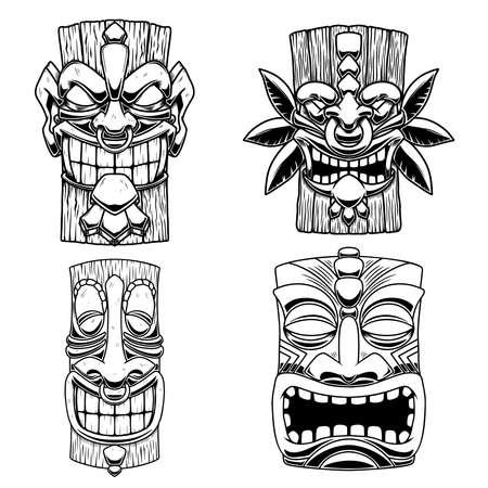 Set of Illustrations of Tiki tribal wooden mask. Design element for emblem, sign, poster, card, banner. Vector illustration