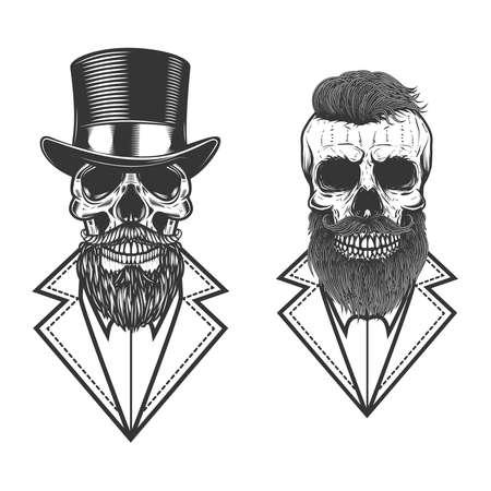 Set of Illustration of bearded hipster skull in vintage monochrome style. 矢量图像