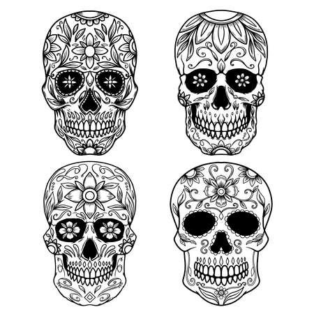 Set of Illustration of mexican sugar skull. Design element for emblem, sign, poster, card, banner. Vector illustration