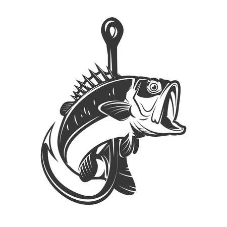 Illustration of bass and fishing hook. Design element for poster, card, banner, sign, emblem. Vector illustration