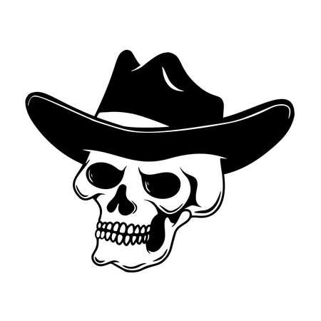 Illustration of skull in cowboy hat. Design element for emblem, sign, poster, card, banner. Vector illustration