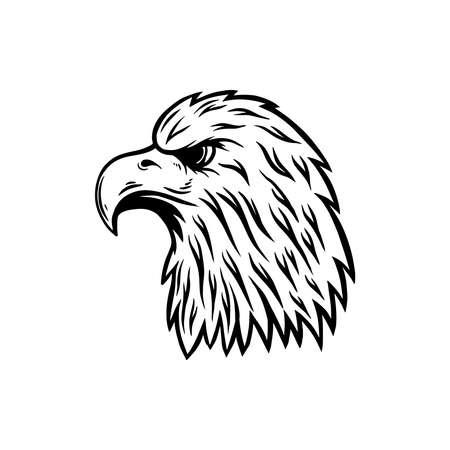 Illustration of eagle head in engraving style. Design element for emblem, sign, poster, card, banner. Vector illustration Vettoriali