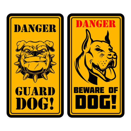 Danger. Guard dog. Beware of the dog. Sign with with angry dog head. Design element for poster, card, banner, sign, emblem. Vector illustration Vettoriali