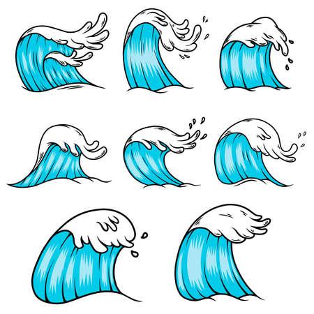 Illustration of sea waves in engraving style. Design element for poster, card, banner, menu. Vector illustration
