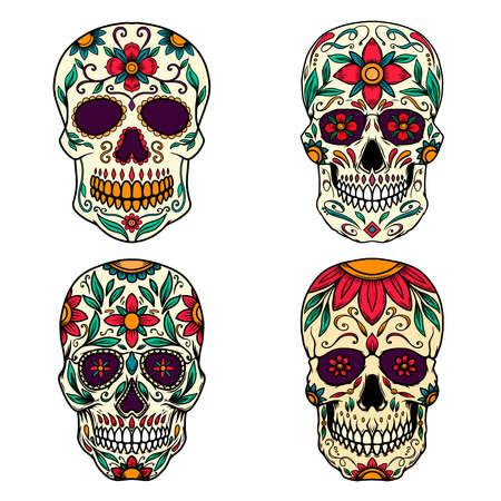 Set of Illustration of mexican sugar skull. Design element for logo, emblem, sign, poster, card, banner. Vector illustration