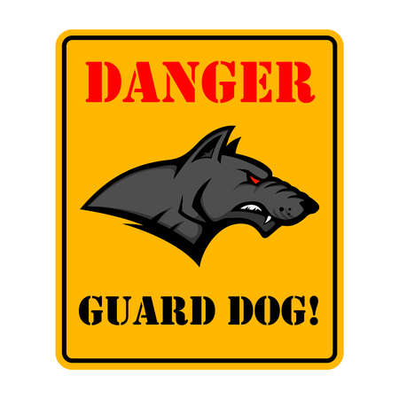 Danger. Guard dog. Beware of the dog. Sign with with angry dog head. Design element for poster, card, banner, sign, emblem. Vector illustration Illustration