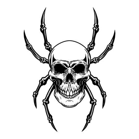 Illustration of skull with spider legs. Design element for poster, card, banner, sign, emblem. Vector illustration