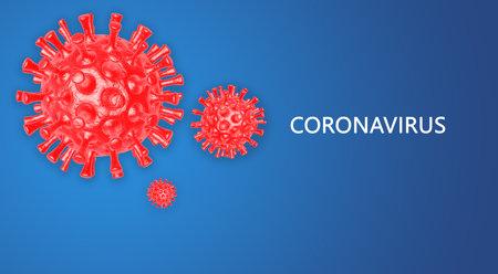 Coronavirus. Banner template with 3d illustration of coronavirus bacteria on blue background. Design element for poster, card, banner, flyer.