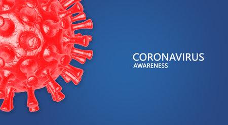 Coronavirus awareness .3d illustration of coronavirus bacteria on blue background. Design element for poster, card, banner, flyer. Imagens