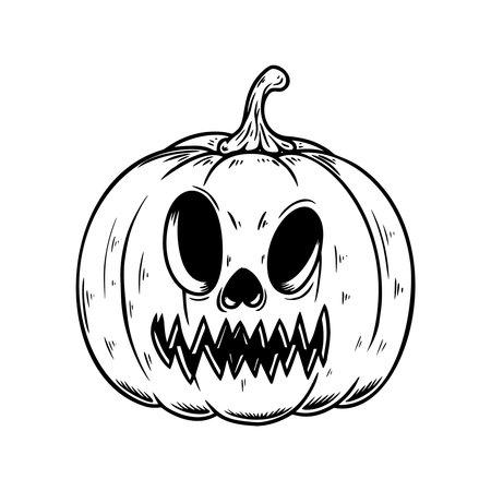 Illustration of scary halloween pumpkin. Design element for poster, card, banner, sign, emblem. Vector illustration
