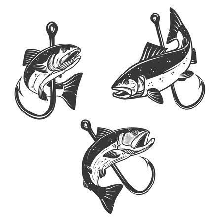 Set of Illustrations of salmon and fishing hook. Design element for poster, card, banner, sign, emblem. Vector illustration Ilustração