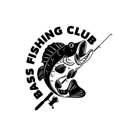Bass fishing club. Illustration of bass fish and fishing rod. Design element for poster, card, banner, t shirt. Vector illustration Ilustração