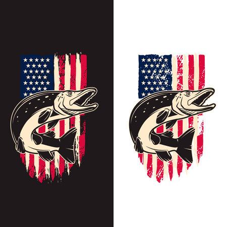 Illustration of pike fish of background of usa flag in grunge style. Design element for poster, card, banner, sign, emblem. Vector illustration Ilustração