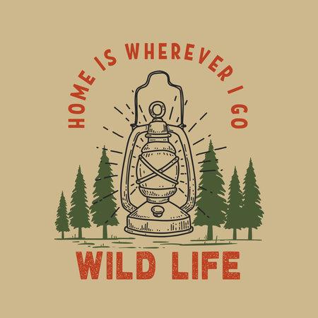 Home is wherever i go. Illustration of retro lantern on forest background. Design element for poster, card, banner, t shirt. Vector illustration