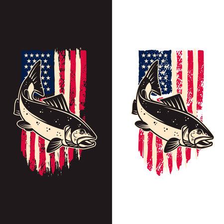 Illustration of salmon fish of background of usa flag in grunge style. Design element for poster, card, banner, sign, emblem. Vector illustration