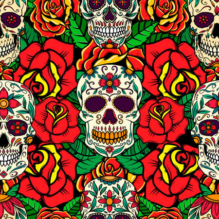 Seamless pattern with sugar skulls and roses. Design element for poster, card, banner, t shirt. Vector illustration