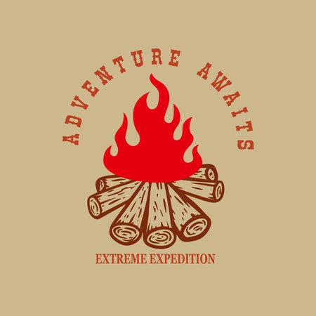 Adventure awaits. illustration of campfire. Design element for poster, card, banner, t shirt. Vector illustration Ilustração