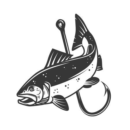 Illustration of salmon and fishing hook. Design element for poster, card, banner, sign, emblem. Vector illustration