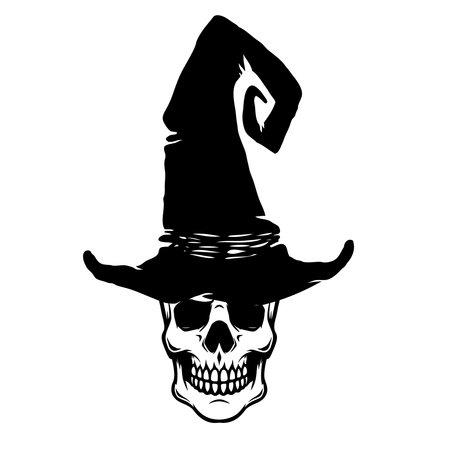 Illustration of scary witch skull. Design element for poster, card, banner, sign, emblem. Vector illustration