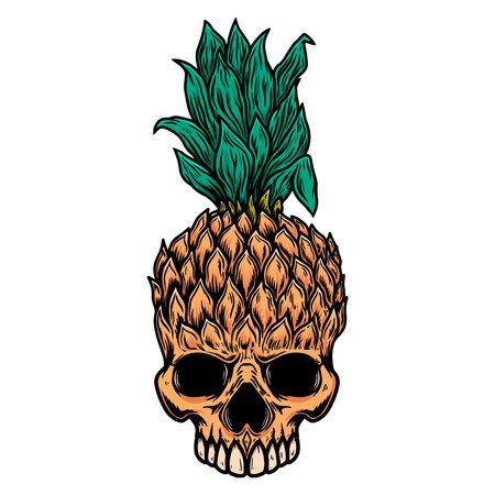 Illustration of pineapple skull. Design element for logo, label, sign, poster, card. Vector illustration