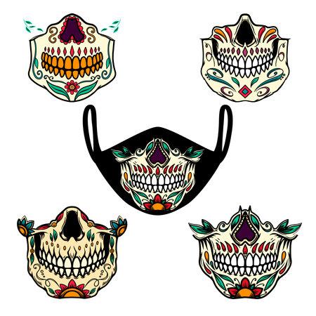 Set of illustrations of human jaw bone from mexican sugar skulls. For printing on face guard medical masks. Vector illustration Ilustração