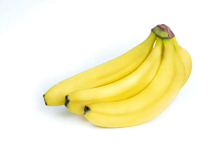 Bunch of fresh yellow bananas isolated on white background