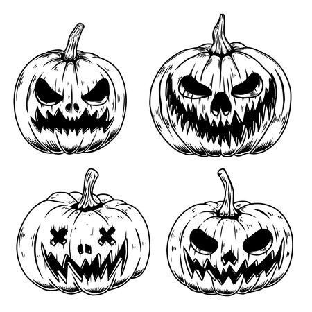 Set of Illustrations of scary halloween pumpkin. Design element for poster, card, banner, sign, emblem. Vector illustration