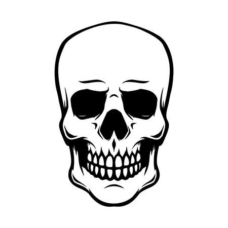 Illustration of smiling halloween skull. Design element for poster, card, banner, sign, emblem. Vector illustration