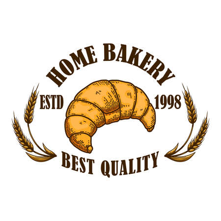 Home Bakery. Illustration of croissant in engraving style. Design element for poster, card, banner, sign. Vector illustration