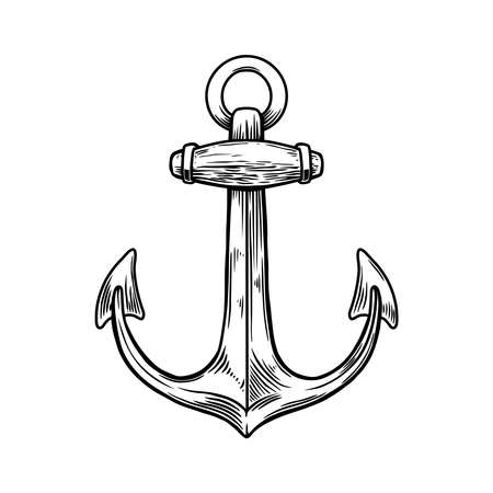Illustration of anchor in engraving style. Design element for poster, card, banner, sign. Vector illustration