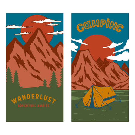 set of camping flyers with mountains. Design element for poster, card, banner, sign. Vector illustration