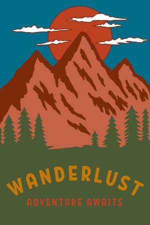 camping flyers with mountains. Design element for poster, card, banner, sign. Vector illustration