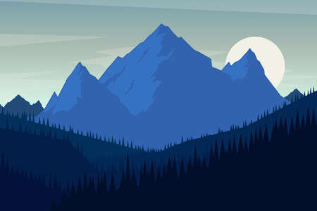 Illustration of landscape with mountains in flat style. Design element for poster, card, banner, flyer. Vector illustration. Vector illustration Çizim