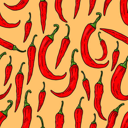Seamless pattern with chili peppers. Design element for poster, card, banner. Vector illustration Çizim